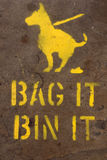 Bag and bin dog mess sign Stock Photos