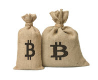 Bag with bitcoin. Stock Images