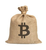 Bag from bitcoin. Bag from bitcoin isolated on a white background royalty free stock images