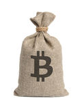 Bag with bitcoin. Stock Image
