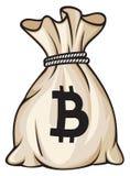 Bag with bitcoin sign Stock Photos