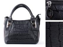 Bag black, leather Stock Photo