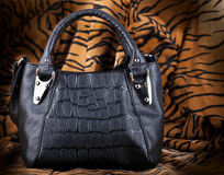 Bag black, leather Stock Images