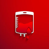 Bag Blood Donation concept with red blood drop and shadow effect Royalty Free Stock Photography