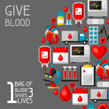 1 bag of blood saves 3 lives. Background with blood donation items. Medical and health care objects.  royalty free illustration