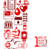 1 bag of blood saves 3 lives. Seamless pattern with blood donation items. Medical and health care objects.  Royalty Free Stock Photo
