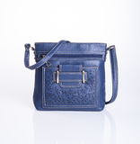 bag or blue colour fashion bag on background. Royalty Free Stock Images