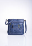 bag or blue colour fashion bag on background. Stock Photos