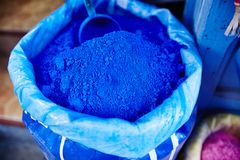 Bag with blue pigment colour in Morocco, Chefchaouene. Variety o royalty free stock photos