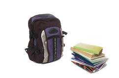 Bag and books Stock Images