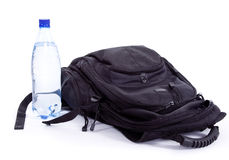 Bag and bottle. On a white background Stock Photography