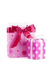 Bag and box. Pink bag and gift box. Isolated on white Royalty Free Stock Images