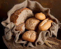 Bag of bread Stock Images