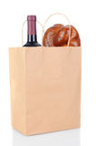 Bag with Bread and Wine Stock Photo