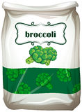 Bag of broccoli with label Stock Photo