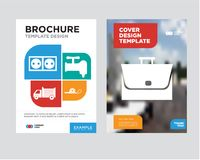 Bag brochure flyer design template. With abstract photo background, meter, crane, lorry, socket minimalist trend business corporate roll up or annual report Stock Photos