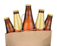 Bag with brown beer. Bottles isolated on white background Royalty Free Stock Images