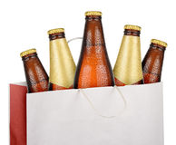 Bag with brown beer bottles Royalty Free Stock Image