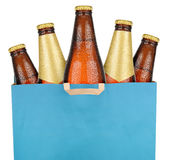 Bag with brown beer bottles Royalty Free Stock Images