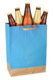Bag with brown beer bottles Stock Photo