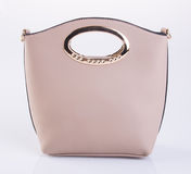 Bag or brown leather woman handbag on background. Royalty Free Stock Photo
