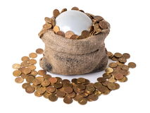 Bag with bubble and coins. Bag with bubble and falling coins Stock Photo