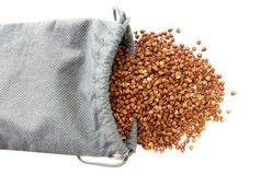 Bag with buckwheat Royalty Free Stock Image