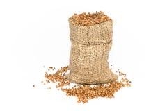 Bag of buckwheat Stock Photo