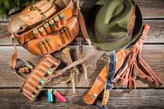 Bag with bullets in a hunting lodge Royalty Free Stock Photo