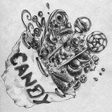 Bag of candy. Hand drawn pencil sketch of different sweets. Lollipops, jellybeans and other sugary stuff Stock Image