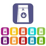 Bag with cannabis icons set. Vector illustration in flat style in colors red, blue, green, and other vector illustration