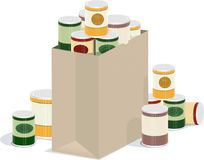 Bag of canned goods. A detailed  illustration of a bag overflowing with canned goods Royalty Free Stock Photography