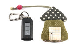 Bag of car key house model Royalty Free Stock Image