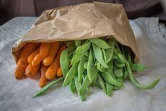 Bag of carrots and legume royalty free stock images