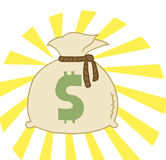 Bag of cash. Money bag sack with a dollar symbol and bright light Stock Photography