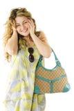 bag cheerful woman Στοκ Φωτογραφίες