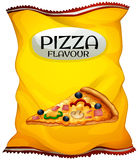 Bag of chips pizza flavour. Illustration Stock Photography
