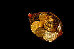 Bag of Chocolate coins Stock Images