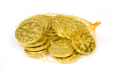 Bag of chocolate penny coins Stock Photos