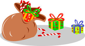 Bag of Christmas presents Stock Photo