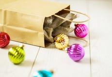 Bag with chritmas balls Stock Photo