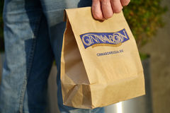 Bag of Cinnabon bakery Royalty Free Stock Photos
