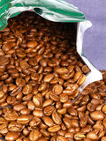 Bag of coffee. Coffee beans royalty free stock photos