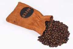 Bag of coffee. And coffee-beans Stock Images