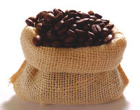 Bag of coffee royalty free stock photography