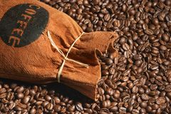 Bag of coffee. And coffee-beans Royalty Free Stock Images