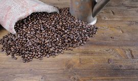 Bag of coffee beans. Royalty Free Stock Photography