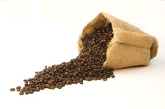 Bag of coffee beans Stock Photography