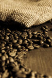 Bag of coffee-beans Stock Photos