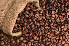 Bag of Coffee Beans on its Side Stock Image
